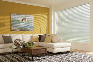 living room layered shades by Graber