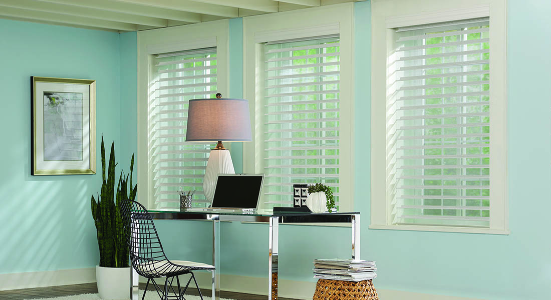 sheer shades in home office